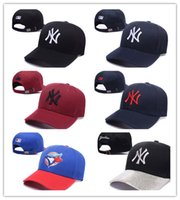 Wholesale Multi Dance - Hot Baseball Cap NY Embroidery Letter Sun Hats Adjustable Snapback Hip Hop Dance Hat Summer Outdoor Men Women White Black Navy Blue Visor