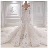 Wholesale Crystal Ball Gowns Wedding Dress - Vestido De Noiva Lace Wedding Dresses 2016 Spring Designer New Crystal Pearls Embroidery For Church Wedding Party Dresses Bridal Gowns
