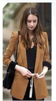 Wholesale Boyfriend Blazer Women - Free Shipping Autumn New Fashion Women's Boyfriend Blazer Basic Coat Outerwear Career Suit Plus Size Camel Black S M L XL