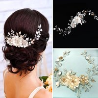 Wholesale bride hair chain - Handmade Gold Silver Leaves Pearl Flower Headband Crystal Tiara for Bride Bridesmaid Rhinestone Floral Head Chain Wedding Hair Accessories
