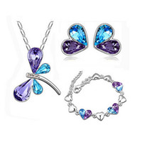 Wholesale Rhinestone Dragonfly Jewelry Sets - Double Colors Dragonfly Necklace Earrings Bracelet Set Peach Heart Jewelry Set Austria Crystal Women Fashion Christmas Gift 8003