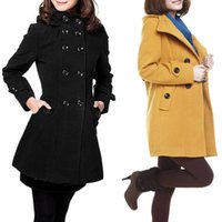 Wholesale Korean Red Trench Coat - S5Q Womens Overcoat Korean Winter Slim Wool Coat Trench Hooded Coat Long Jacket AAAEIS