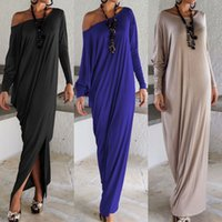 Wholesale Wool Long Sleeve Maxi Dress - Women Lady Elegant Casual Loose Fashion Long Sleeve Boho Pure Color Blue Grey Black O Neck Beach Long Maxi Dress