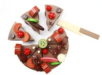 Wholesale Wooden Toys Cake - Wholesale-New wooden toy Simulation Chocolate cake Baby toy Free shipping