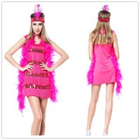 Wholesale Medieval Dresses For Girls - Sexy International Costumes For Women Adult Pink Flapper Girl Costume Fringe Flapper Stripe Sequin Dress Uniforms Outfits H39130