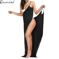 Gamiss Beach Long Maxi Wrap Slip Dress 2017 Women Summer Cover Ups Sleeveless Split Sexy Spaghetti Strap Dress Vestidos Sundress