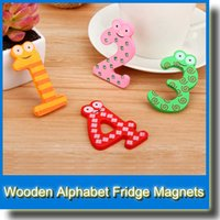 Wholesale Toddler Toy Magnets - 15pcs lot Fridge Magnet Child Colorful Number 0-9 + 5 Operation Symbol Shape Learning Cute Wooden Fridge Magnetic Toddler Children Toys