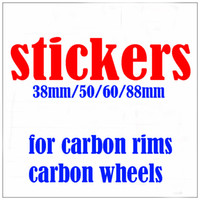 Wholesale 88mm carbon rims - Stickers for Bicycle rims for carbon wheels wheelsets 38mm 50mm 60mm 88mm free shipping accept Customized logos