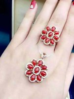 Wholesale Red Natural Coral Ring - S925 rose gold plated natural red coral ring & pendant size3*5 new fashion jewelry sets free shipping by epacket