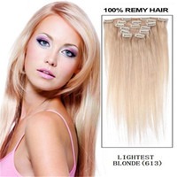 "Wholesale 22 Blonde Lightest - 16""18"" 20"" 22' 26"" remy Human Hair CLIP IN HAIR EXTENSIONS #613 lightest Bleach Blonde 70g 100g 160g"
