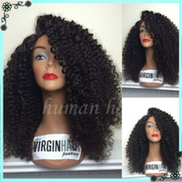 Wholesale Big Knot Tie - 7A Peruvian Curly Full Lace Human Hair Wigs Unprocessed Glueless Lace Front Wig Bleached Knots For Black Women