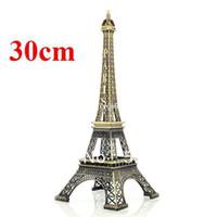 эйфовая модель оптовых-Новый 30 см бронзовый Париж Эйфелева башня фигурка металл ремесло скульптура имитация модель Бесплатная доставка