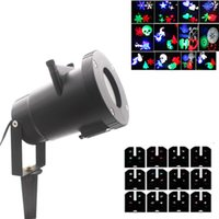Discount snowflake projector lights - 12 Images optional projector laser lights snowflake Christmas decoration lamp 4-6 W for outdoor landscape gift