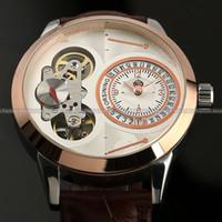 amp box venda por atacado-Atacado-Luxo Relógio De Pulso Mecânico Automático De QuartzoQuartz Relógios De Movimento Duplo + Caixa De Presente