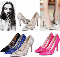 Wholesale Satin Beige Heels - 2015 Women Cutout Satin Fabric 6 Sizes High Heel Sexy Lace Wedding Shoes Shallow Mouth Pointed Toe Genuine Leather Bride Pumps Dress Shoes