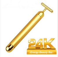 Wholesale Face Lift Gold - Free Shipping Electric Energy Beauty Bar 24K Gold Pulse SKIN CARE Facial Roller Face Body Massage Firming Massager Lifting Tighten Wrinkle