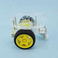 Wholesale Voltage Regulator Car - Wholesale-1Set 2WD Mini Round Double-Deck Smart Robot Car Chassis DIY Kit for Arduino