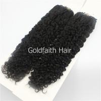 Wholesale Easy Loop Ring Hair Extension - Micro Loop Ring Hair Extensions Peruvian Virgin Hair Easy Loop Natural Black Curly Micro Bead Loop Hair Extensions