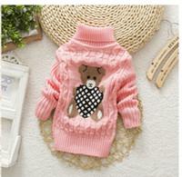 ropa para niños al por mayor-Cuello alto Ropa de abrigo Niños suéter de dibujos animados de bebés niñas suéter Jumper otoño invierno niños de punto jerseys niños ropa