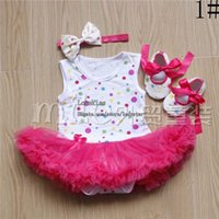 Wholesale Colour Shoes White Dress - Christmas Girl Dress Baby Suit Children Clothes Kids Clothing Girls Headbands Summer Lace Rompers Baby Shoes Children Set Kids Suit Outfits