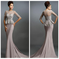 Wholesale Cheap Coral Dresses China - China Mermaid Formal Evening Gowns 2016 Gray Lace Mother of the Bride Dresses Cheap Beaded Pearls Sheer Occasion Party Dress Sleeves