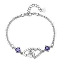 ingrosso grande ametista-Bracciale in argento 925 a forma di cuore femminile con ametista naturale coreana della grande gioielleria europea e americana