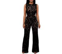 c70d5bf452 Al por mayor-FGirl Jumpsuit Monos Black Lace Desnudo Illusion Back Cutout  Jumpsuit Rompers Mujeres Jumpsuit Romper FG31375