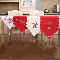 Wholesale satin table cloths white - Elegant Satin Table Runner 40*170cm Christmas Santa Claus Tablecloth Embroidered Hollowed Out Design Tablecloths Top Quality 17 8hb B