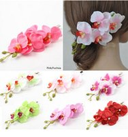 Clip & Pin orchid hair pins - 10 off new arrival Colorful Bridal Wedding Orchid Flower Hair Clip Barrette Accessories Hairpin Wedding flower decoration