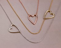 Wholesale Tiny Love Wholesale - 5PCS Gold Silver Tiny Line Hollow Out Open Heart Necklaces Simple Wire Wrapped Love Heart Necklaces for Lovers Couples