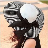 chapéus de verão vintage senhoras venda por atacado-Atacado-2015 preto branco listra senhoras verão chapéu de palha com orelhas Vintage chapéu de sol feminino chapéus de praia para mulheres gorros bonés snapback bonés