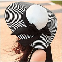 Wholesale Vintage Ladies Summer Hats - Wholesale-2015 Black White Stripe Ladies Summer Straw hat with ears Vintage Sun hat female Beach hats for women beanies snapback hats caps