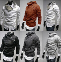 Wholesale Men Slant Hoodie - Hot Sale! Mens Coat Slim Fit Autumn Winter Fur Collar Hoodie Coats Slant Zipper Metal Buckle XS, S, M, L, XL Warm Jacket For Men