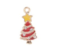 Wholesale Gold Charm Christmas Tree - 10 PCS Fashion Yellow Red White Christmas Tree Charms #92201