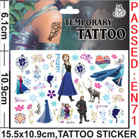 Wholesale Temporary Tattoos For Lips Wholesale - 2014 popular cartoon movie 15.5x10.9cm Frozen Elsa Anna mix design Temporary Tattoos stickers fashion for kid children's gift