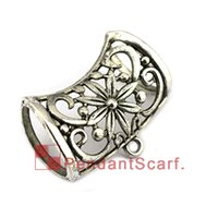 Wholesale fashion jewelry tube pendant for sale - Group buy Hot Fashion Jewelry Pendant Scarf Accessories Metal Hollow Out Charm Flower Necklace Scarf Pendant Slide Bails Tube AC0411