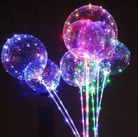 Wholesale led luminous balloons - Luminous LED Balloon Transparent Colored Flashing Lighting Balloons With 70cm Pole Wedding Party Decorations Holiday Supply CCA8166 100pcs