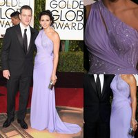 73. Golden Globe Awards Abendkleider mit Perlen eine Schulter Criss Cross Bandage Key Hole Neck Lavendel Red Carpet Celebrity Gown 2016