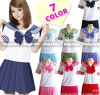 Wholesale Plus Size Girls Uniforms - 9 colors Japanese school uniforms sailor tops+tie+skirt Navy style Students clothes for Girl Plus size Lala Cheerleader clothing
