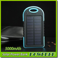 Wholesale iphone ipad solar charger online – 5000mAh USB Port Solar Power Bank Charger External Backup Battery With Retail Box For iPhone iPad Samsung