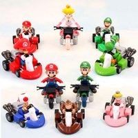 "Wholesale Cute Mario Bros - Cute Super Mario Bros Kart Pull Back Car PVC Action Figure Toys 2"" 10pcs set Free Shipping"