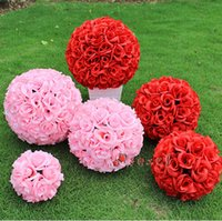 bébé embrassant achat en gros de-15 cm Blanc Rouge Rose Violet Artificiel Soie Rose Fleurs Hanging Kissing Ball For Wedding Baby Shower Party Décoration Fournitures