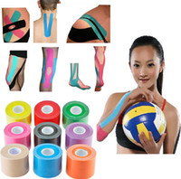 Wholesale Kinesiology Muscle Sport Tape - 5mx5cm Kinesiology Tape Sports Tape Muscles Care Elastic Physio Therapeutic Tape Strain Injury Support colorful elastic bandage CE FDA