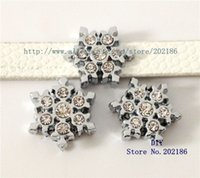 Wholesale Dog Collar Slide Tags - SL209 8mm snowflake Slide Charms Fit Pet Dog Cat Tag Collar Wristband