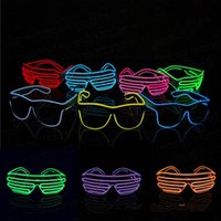 El Wire Neon LED Light Up Shutter Occhiali da vista Illuminazione classica brillante Festival Occhiali 10pcs OOA3787