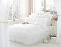 Wholesale full bedskirt - Wholesale- Korean Style Princess Lace Bedding Sets 100% cotton queen King Size 4pcs Bedclothes Bed Linen Bedskirt Duvet Cover