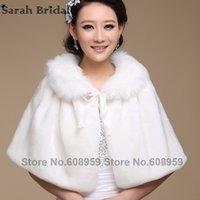 Wholesale Womens Ruffled Jacket - Wedding jacket wrap Shawl Cloak Cape Jacket Bridal Bolero Winter Wraps Coat Stole Faux Fur Fabric For Brides Womens 17015