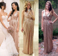 Wholesale Long Sequin Bridesmaid Dresses - Cheap Long Lace Bridesmaid Dresses Real Buyer Show V Neck Gold Sequin Bling Sleeveless Sheath Sexy Attractive Evening Prom Gowns