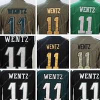 Wholesale Camo Vests - #11 Carson Wentz Black Alternate Men's Stitched Limited Gold 2017 Olive Camo Salute To Service Midnight Kelly Green Rush Jersey Jersey Vest