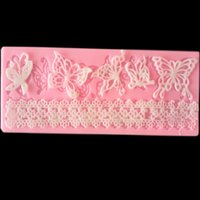 Wholesale Pink Butterfly Crafts - DIY Silicone Pink Butterfly Lace Line Cake Mold Fondant Solid Chocolate Baking Sugar Decorate Gumpaste Tool Craft Wedding Party